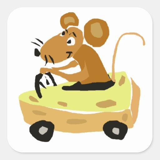 XX ratón que conduce un dibujo animado del coche Pegatina Cuadrada