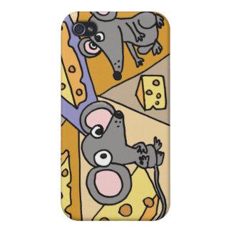 XX ratones y arte del queso iPhone 4 Carcasas