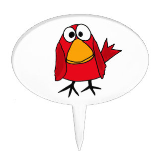 XX- Red Cardinal Bird cartoon Cake Topper