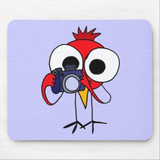 XX- Red Cardinal Bird with Camera Cartoon Mouse Pad