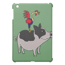 XX- Rooster on a Pot Bellied Pig Cartoon iPad Mini Cover