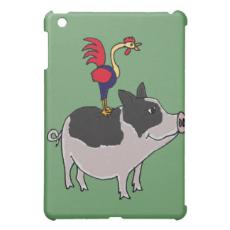 XX- Rooster on a Pot Bellied Pig Cartoon iPad Mini Covers