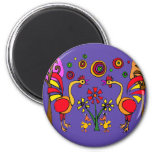 XX- Roosters and Flowers Folk Art Refrigerator Magnet