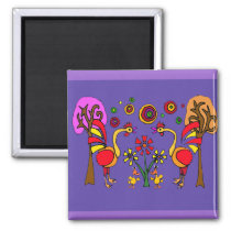 XX- Roosters and Flowers Folk Art Magnet
