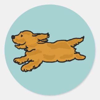 XX- Running Cocker Spaniel Round Stickers