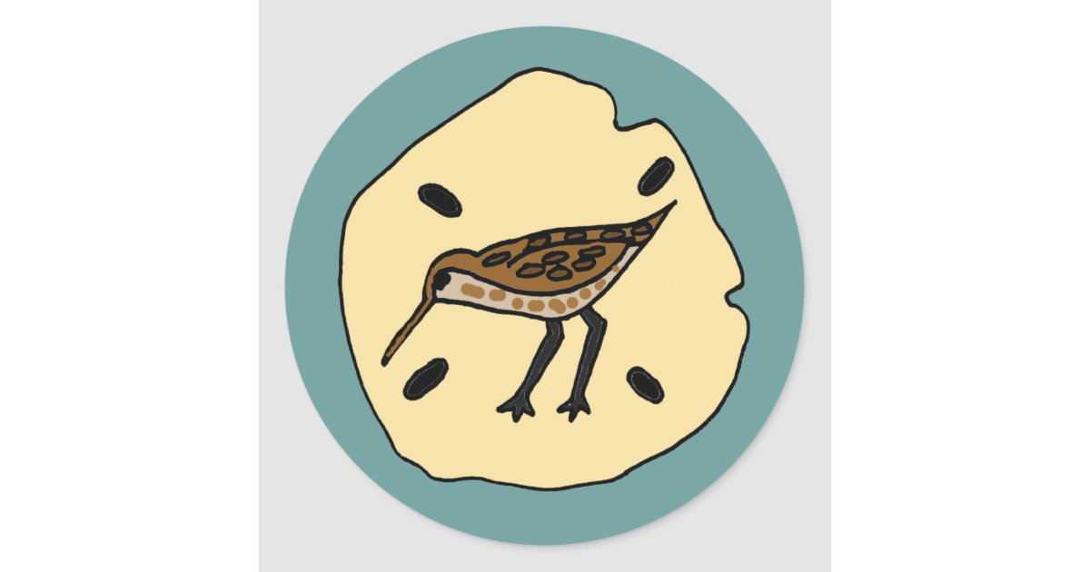 Xx Sandpiper On A Sanddollar Beach Design Classic Round Sticker
