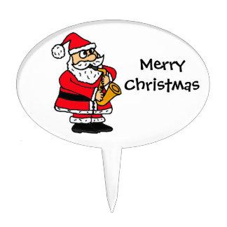 XX- Santa Claus Playing Saxophone Christmas Cake Topper