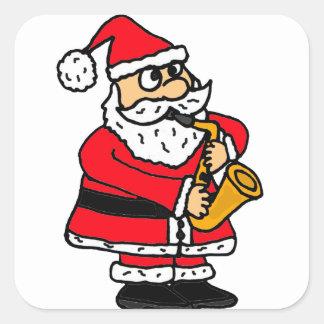 XX- Santa Claus Playing Saxophone Christmas Square Sticker