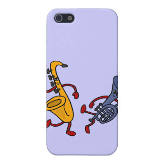 XX- Saxo and Trumpet Dancing Cartoon Cover For iPhone SE/5/5s