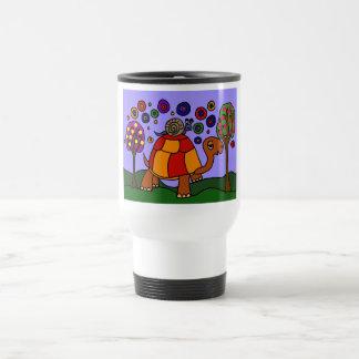 XX- Snail Riding Turtle Folk Art Coffee Mugs