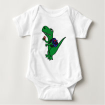 XX- T-rex Dinosaur Back to School Cartoon Baby Bodysuit