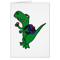 XX- T-rex Dinosaur Back to School Cartoon Card
