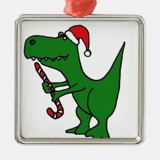 XX- T-Rex Dinosaur Christmas Cartoon Metal Ornament