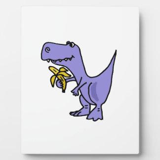 XX- T-Rex Dinosaur Eating Banana Cartoon Plaque