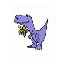 XX- T-Rex Dinosaur Eating Banana Cartoon Postcard