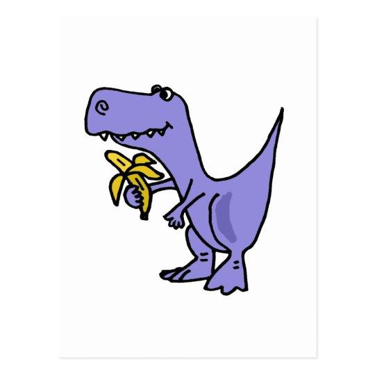 fee6fe9e4 XX- T-Rex Dinosaur Eating Banana Cartoon Postcard   Zazzle.com