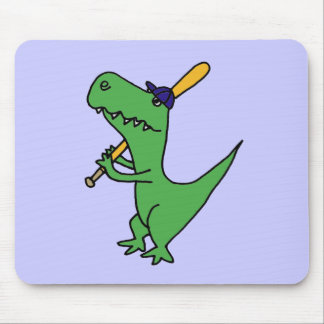XX- T-rex Dinosaur Playing Baseball Mouse Pad