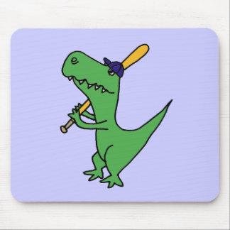 XX- T-rex Dinosaur Playing Baseball Mouse Pad