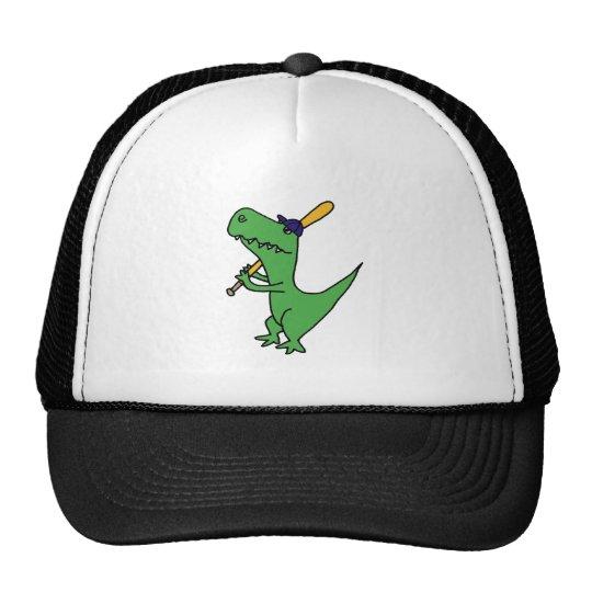 XX- T-rex Dinosaur Playing Baseball Trucker Hat