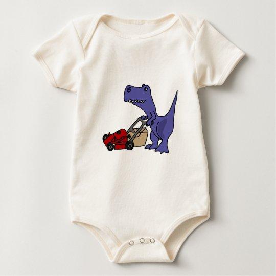 XX- T-rex Dinosaur Pushing Lawn Mower Baby Bodysuit