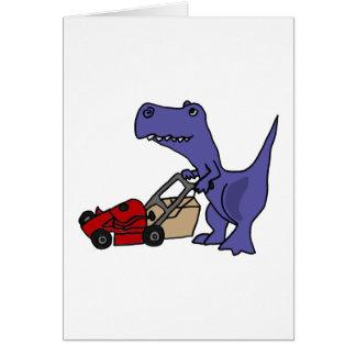 XX- T-rex Dinosaur Pushing Lawn Mower Card
