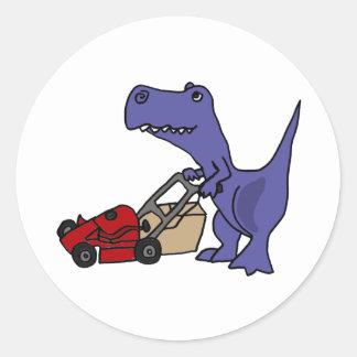 XX- T-rex Dinosaur Pushing Lawn Mower Classic Round Sticker