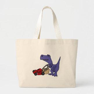 XX- T-rex Dinosaur Pushing Lawn Mower Large Tote Bag