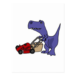 XX- T-rex Dinosaur Pushing Lawn Mower Postcard