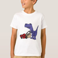 XX- T-rex Dinosaur Pushing Lawn Mower T-Shirt