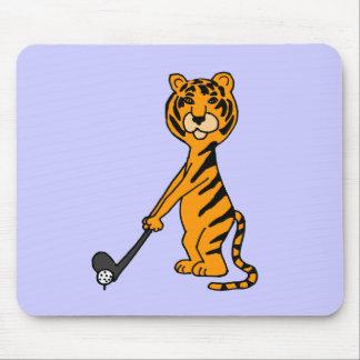XX- Tiger Playing Golf Cartoon Mouse Pads