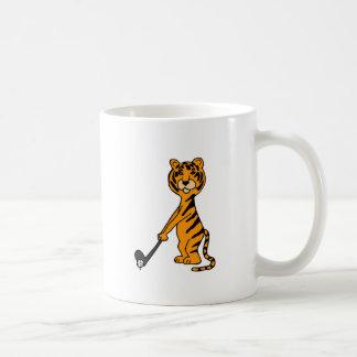 XX- Tiger Playing Golf Cartoon Classic White Coffee Mug