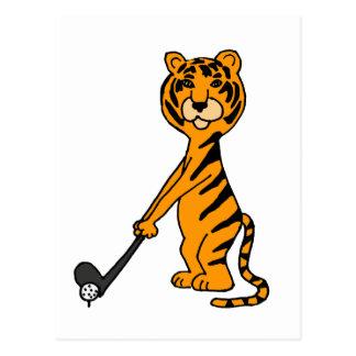 XX tigre que juega el dibujo animado del golf Postal