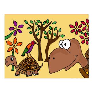 XX tortuga de caja y arte popular de las flores Postales
