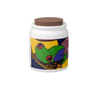 XX- Tree Frog Abstract Art Candy Jar