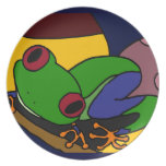 XX- Tree Frog Abstract Art Party Plate