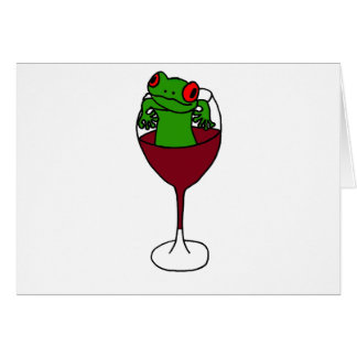 XX- Tree Frog in a Wine Glass Card