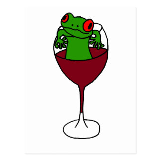 XX- Tree Frog in a Wine Glass Postcard