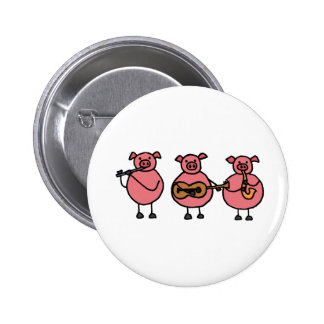 XX tres pequeños cerdos musicales Pin Redondo De 2 Pulgadas