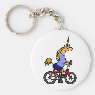 XX- Unicorn Riding Bicycle Cartoon Basic Round Button Keychain