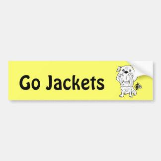 XX- Yellow Jacket Stinging Bulldog Cartoon Car Bumper Sticker