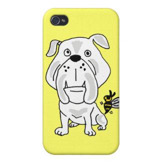 XX- Yellow Jacket Stinging Bulldog Cartoon iPhone 4 Cover