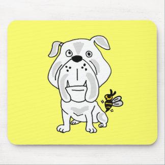 XX- Yellow Jacket Stinging Bulldog Cartoon Mousepad