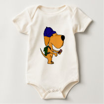 XX- Yellow Labrador Dog Back to School Cartoon Baby Bodysuit