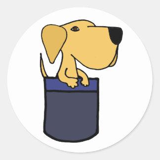 XX- Yellow Labrador Dog in a Pocket Round Sticker