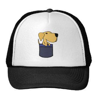 XX- Yellow Labrador Dog in a Pocket Trucker Hat