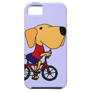XX- Yellow Labrador Dog Riding Bicycle Cartoon iPhone 5 Cases
