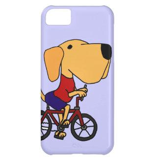 XX- Yellow Labrador Dog Riding Bicycle Cartoon iPhone 5C Case