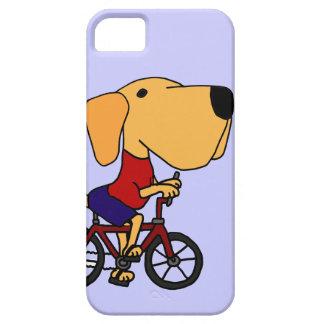 XX- Yellow Labrador Dog Riding Bicycle Cartoon iPhone 5 Cover