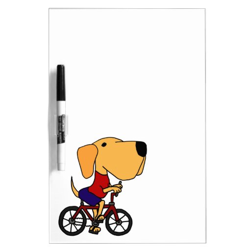 XX- Yellow Labrador Dog Riding Bicycle Cartoon Dry-Erase Board