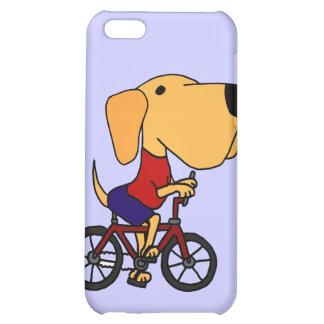 XX- Yellow Labrador Dog Riding Bicycle Cartoon Case For iPhone 5C